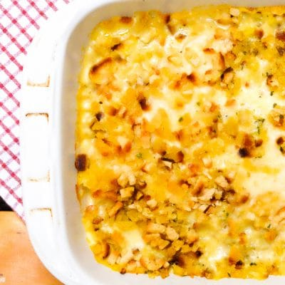 This Creamy Swiss Chicken Bake is made with six ingredients and can be put together in under 15 minutes. It's a busy woman's best friend!