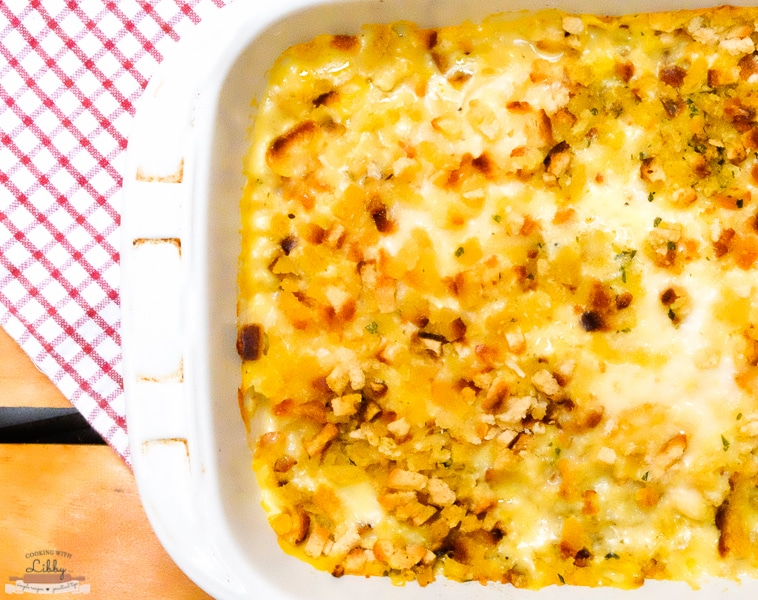 Do you need a simple recipe to make after a hard days work? Then you need to try this recipe for Creamy Swiss Chicken Bake! Made with stuffing, Swiss cheese, and other pantry staples, it's basically comfort food baked up to perfection. It's also under 7 ingredients! #easyrecipe #backtoschool #chicken #chickenrecipes #recipes