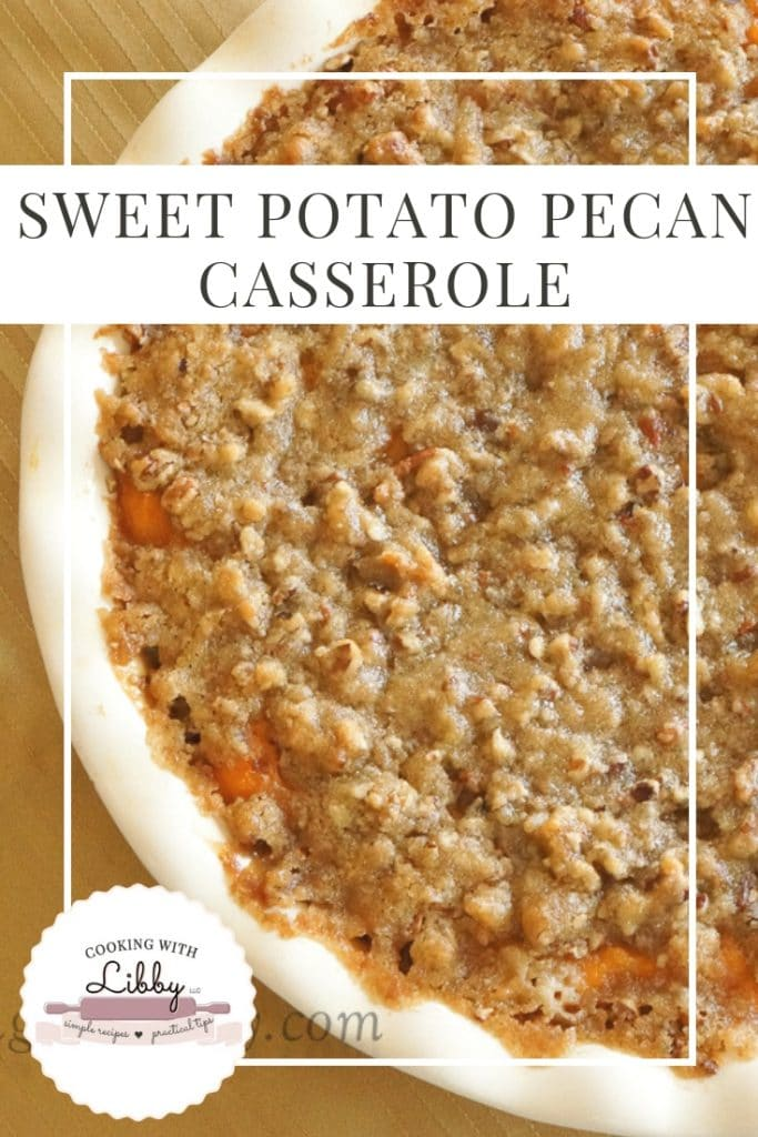 Sweet Potato Pecan Casserole in a serving dish.