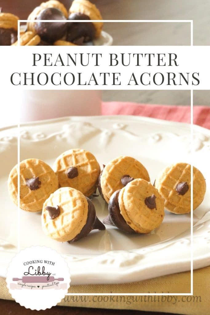 This easy recipe for Peanut Butter Chocolate Acorns is a no bake sweet treat that is perfect for the fall months! With only 3 ingredients, they make a cute snack for Superbowl and even Thanksgiving! #fallrecipes #Thanksgivingrecipe #Superbowl #easyrecipe #snack #peanutbutter #chocolate