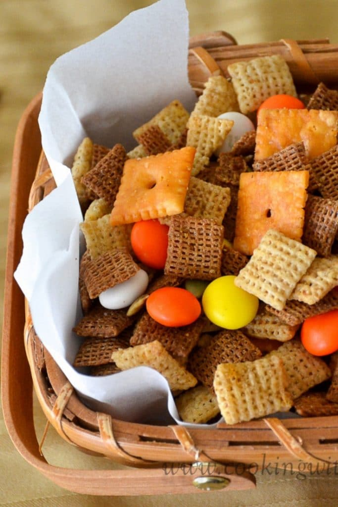 Fall Harvest Chex Mix in a basket.