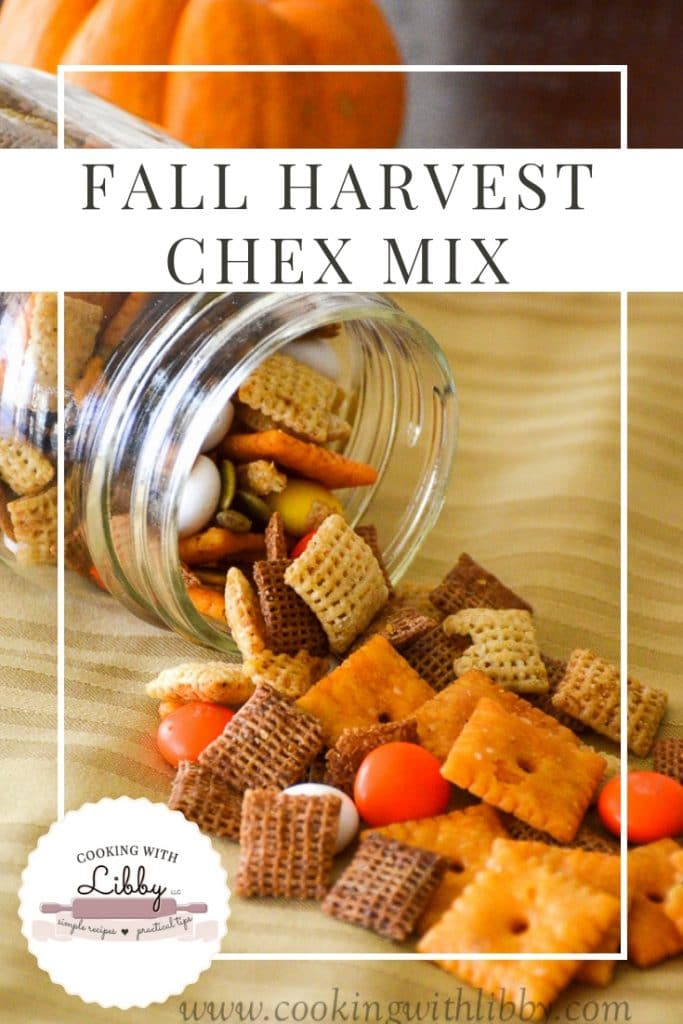 Fall Harvest Chex Mix outside of mason jar.