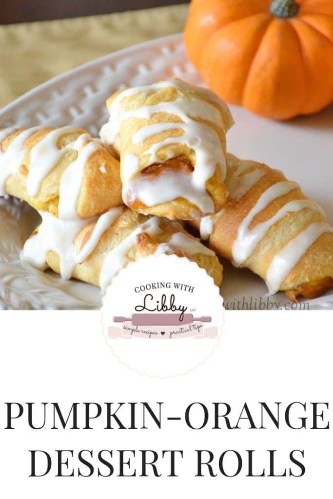These Pumpkin-Orange Dessert Rolls make fall baking easy and delicious! With all the flavors of autumn, the zest of oranges, and cream cheese icing as a topping, your family and friends will want seconds and thirds! #fallrecipes #Thanksgivingrecipe #creamcheese #pumpkin #baking #desserts #crescentrolls #oranges