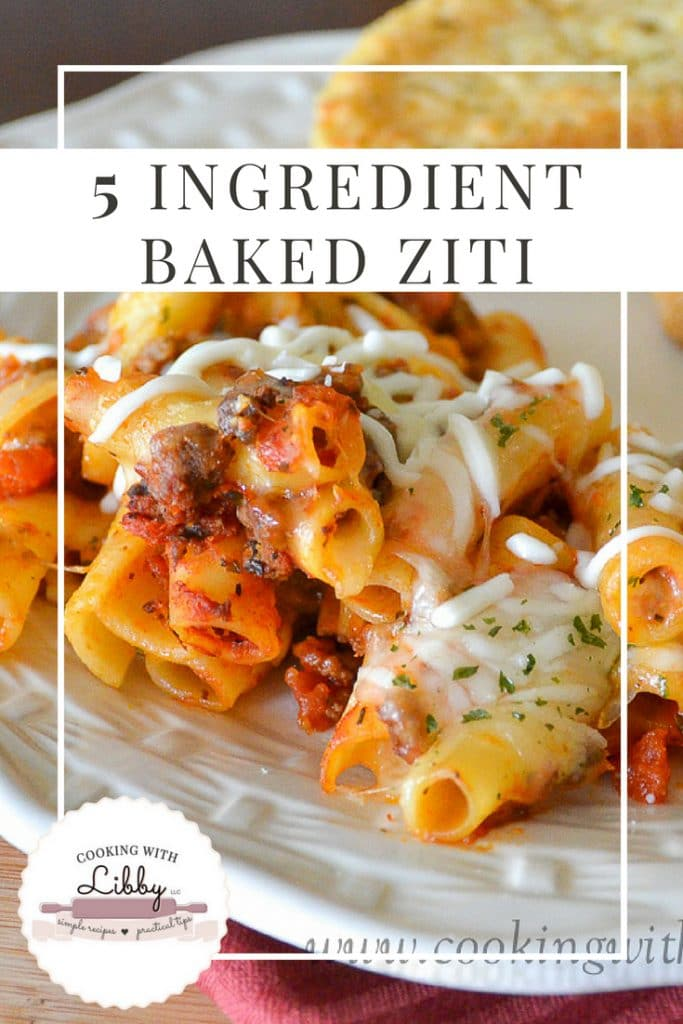 5 Ingredient Baked Ziti on a plate with garlic bread.
