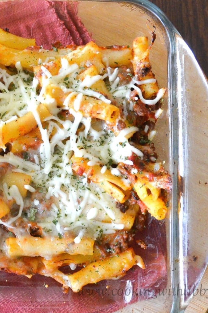 5 ingredient Baked Ziti in a casserole dish.
