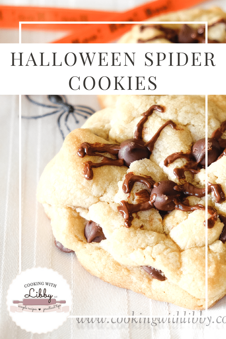 These Halloween Spider Cookies are so easy to make that you don't even need a recipe! You can use the premade dough in the store. Kids will have fun making these before they go trick or treating! For an added twist, use peanut butter cookie dough with chocolate chips inside. #Halloween #peanutbutter #chocolate #kids #easyrecipe