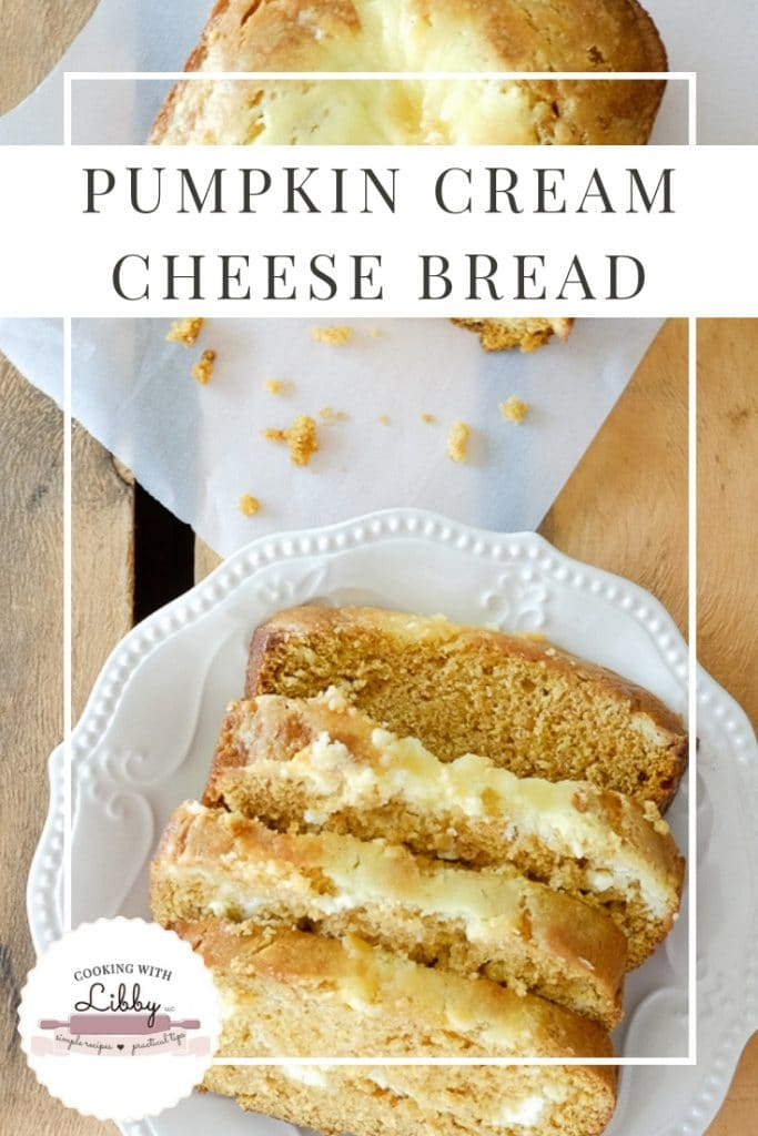 This recipe for Pumpkin Cream Cheese Bread may be one of the easiest you will ever try! Not only is it made with the seasonings of fall, it also bakes up moist and delicious in your kitchen! It's a wonderful treat to make during the autumn and Thanksgiving holiday! #fallrecipes #baking #bread #Thanksgiving #Thankgsivingrecipe #pumpkin #pumpkinbread