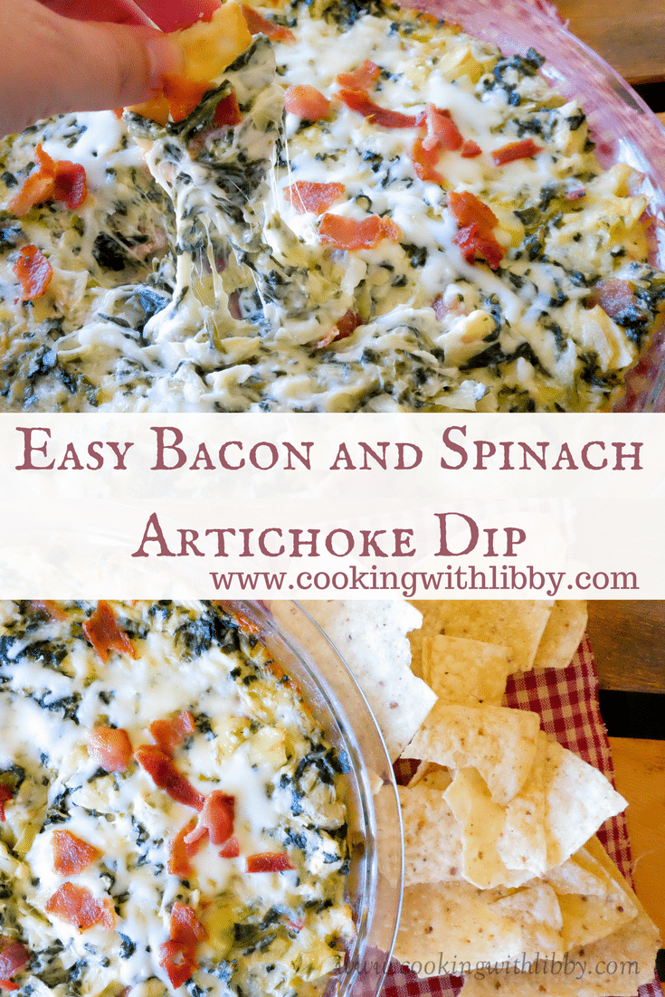 This Easy Bacon and Spinach Artichoke Dip is not only tasty, but easy to make as well. It's a great one-bowl recipe to serve on any night of the week!