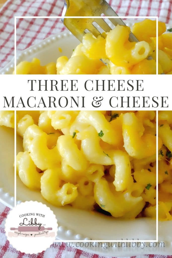 A fork scooping up Three Cheese Macaroni and Cheese