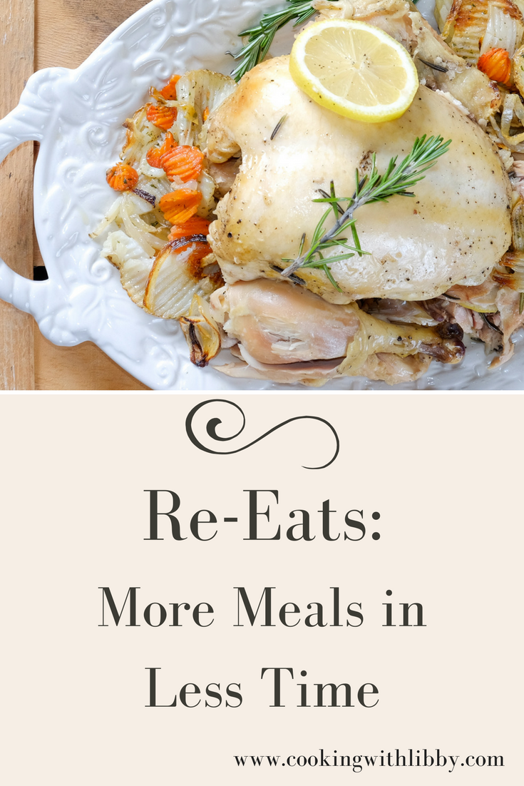 With Re-Eats, learn how to make more meals in less time during the week by turning one meal into two or three separate meals!