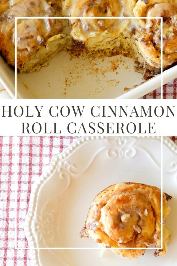 Piece of Holy Cow Cinnamon Roll Casserole on a plate next to a casserole dish.