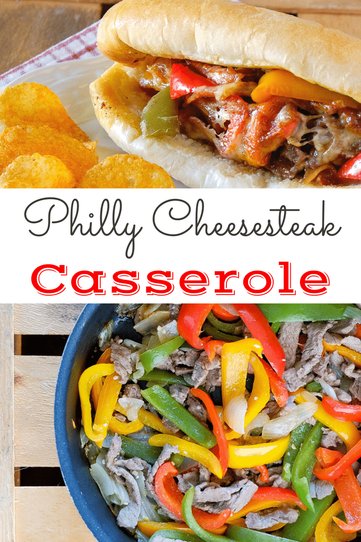 This recipe for Savory and Delicious Philly Cheesesteak Casserole is not only easy, but is also full of fresh vegetables and tender cuts of steak.