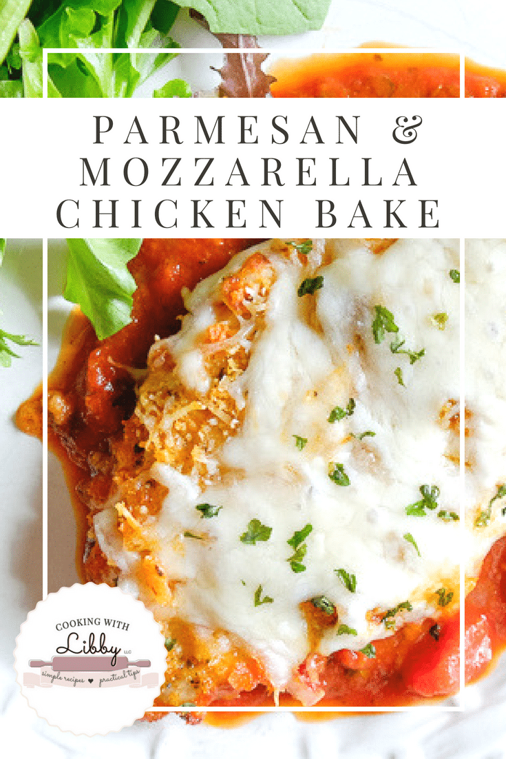 This recipe for Parmesan Mozzarella Chicken Bake is made with marinara sauce (or spaghetti sauce), bread crumbs, and a few other popular Italian ingredients. It's a wonderful weeknight meal and is a dinner that the whole family will enjoy!  #easyrecipe #recipe #food #chicken #chickenrecipes #Italy