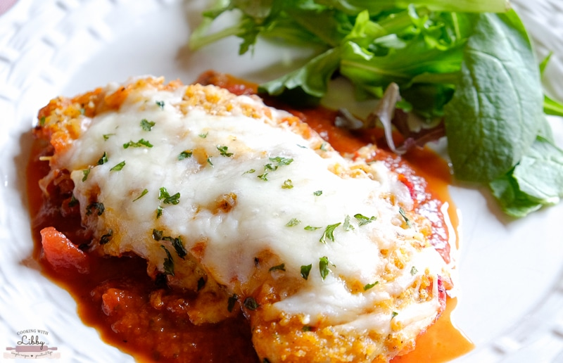 This Parmesan Mozzarella Chicken Bake is made with your favorite marinara or spaghetti sauce with a couple of seasonings thrown in for good measure. It can be served with or without noodles.