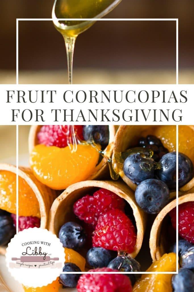 Honey drizzled onto Fruit Cornucopias