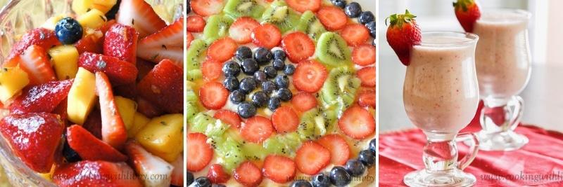Collage of Fruit Recipes Relating to Fruit Cornucopias